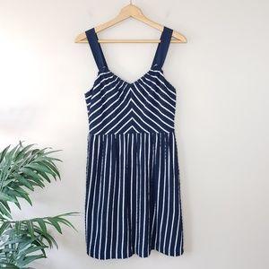 LOFT | Scalloped & Striped Dress